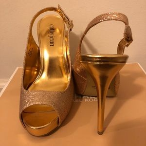 Cathy Jean Gold Glitter Open Toe Slingback Pumps